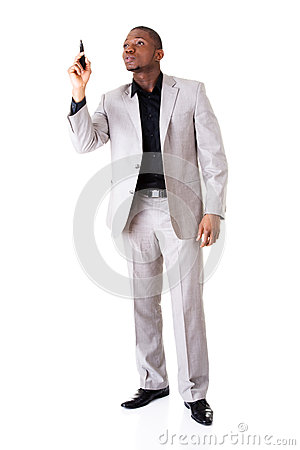 Male businessman pointing high with pen.