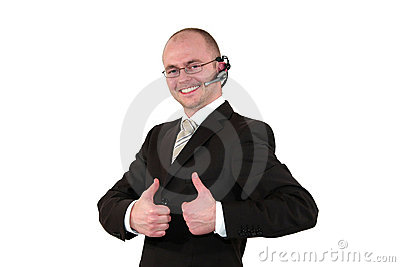 Male call center agent posing with thumbs up