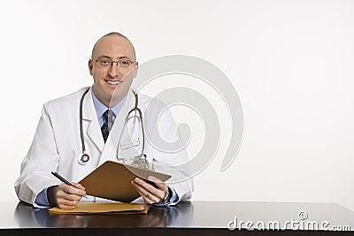 Male Caucasian doctor.