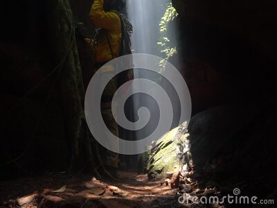 Male cave explorers in Naka cave Phu Langka National Park stock video footage