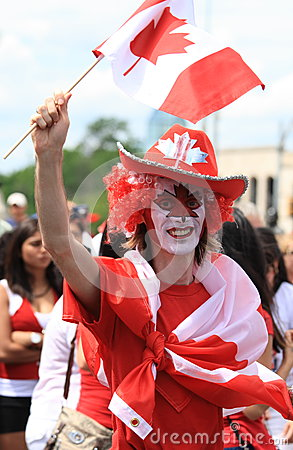 Male Celebrating Canada Day Editorial Photo