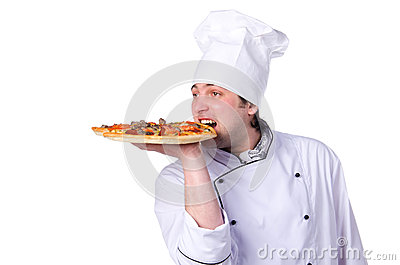 Male chef holding a pizza