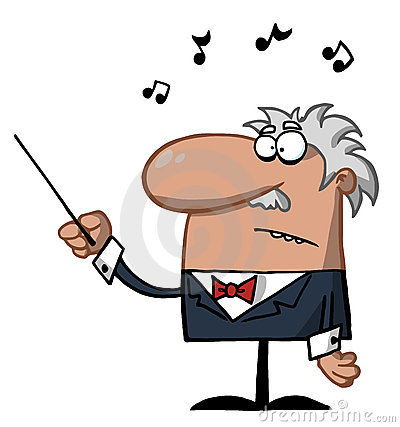 Male conductor waving a baton