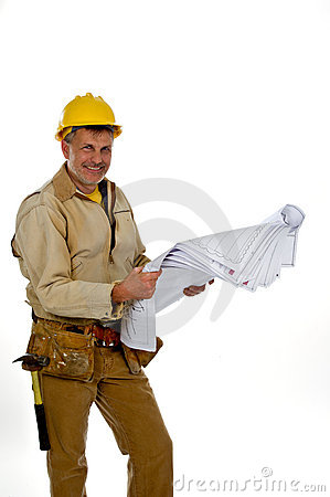 Male construction worker in a hard hat