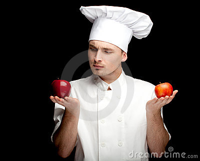 Male cook with apples