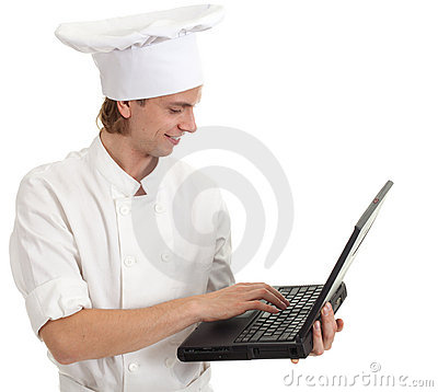 Male cook with laptop
