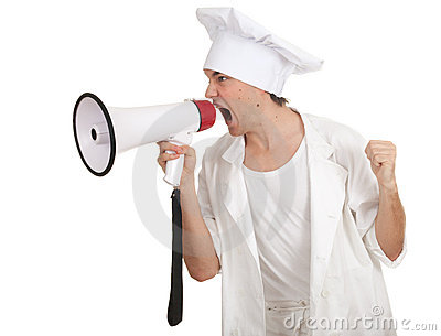 Male cook with megaphone