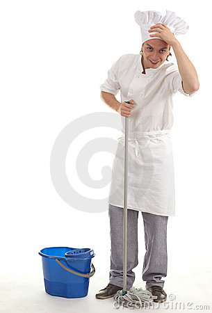 Male cook with mop