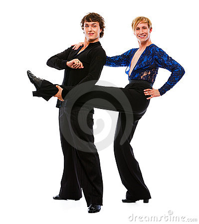 Male dancer holding leg of his funny friend