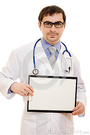 Male doctor with a blank sheet of paper