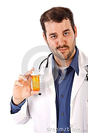 Male Doctor Holding Empty Drug Bottle