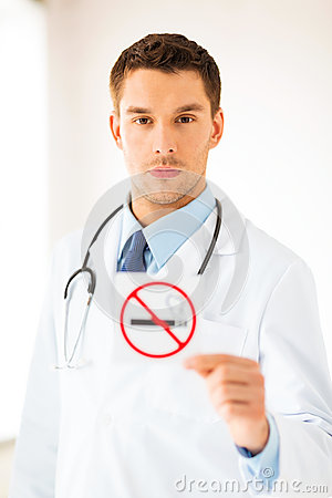 Free Male Doctor Holding No Smoking Sign Stock Photo - 32588470