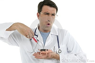 Male doctor holding swine flu vaccine syringe