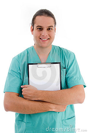 Male doctor with prescription notepad