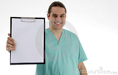 Male doctor showing his notepad