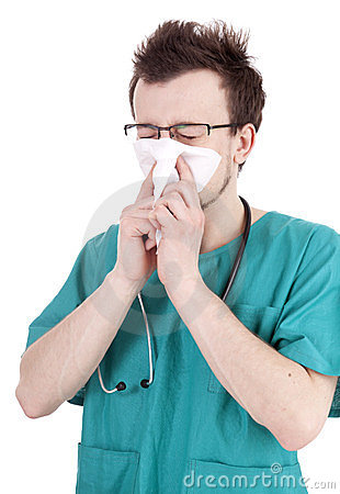 Male doctor with snotty, runny nose