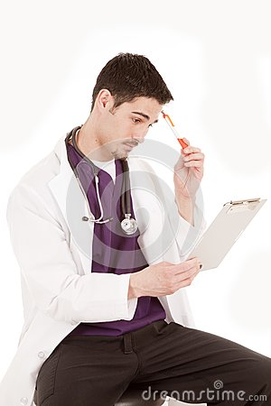 Male doctor thinking