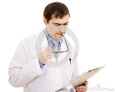 Male doctor thinks