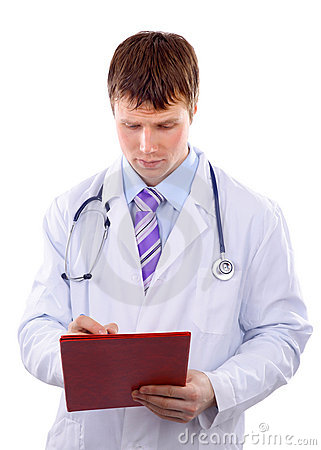 Male doctor writing
