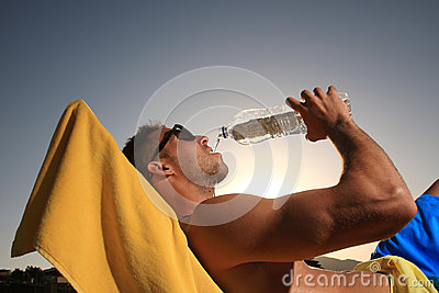 Male drinking water