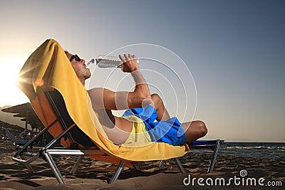 Male drinking water