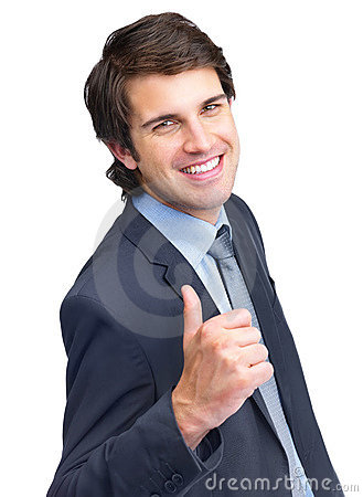 Male entrepreneur showing thumbs up sign
