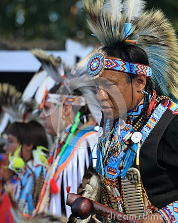 Male fancy dancer at Indian Pow Wow Editorial Photo