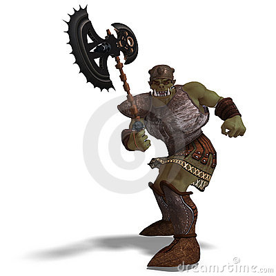 Male Fantasy Orc Barbarian with Giant Axe. 3D