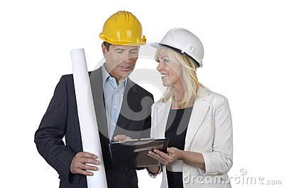 Male and female architect  meeting