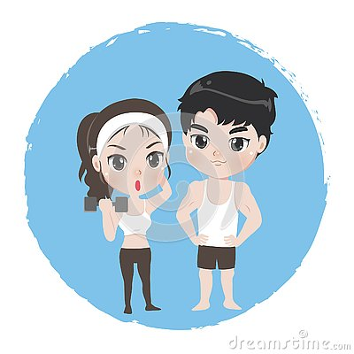 Male and female are athlete good healthy Vector Illustration
