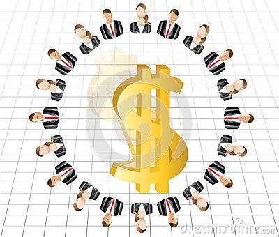 Male female business Work team concept gold dollar