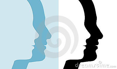 Male Female Couple Silhouette Profile People Set