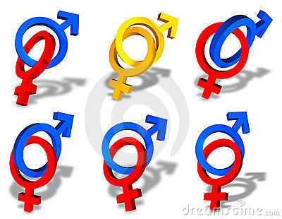 Male and female couple symbols