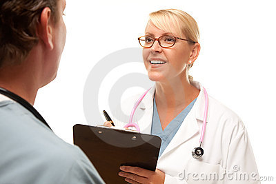 Male and Female Doctors Talking