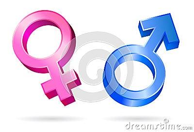 Male female gender symbols