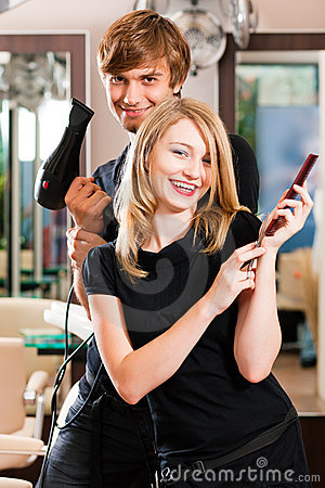 Male and female hairdresser