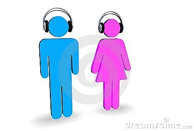 Male and female with headphones