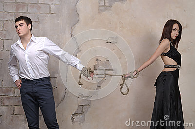 Male and female model in a studio
