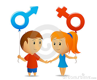 Male female sign with girl and boy