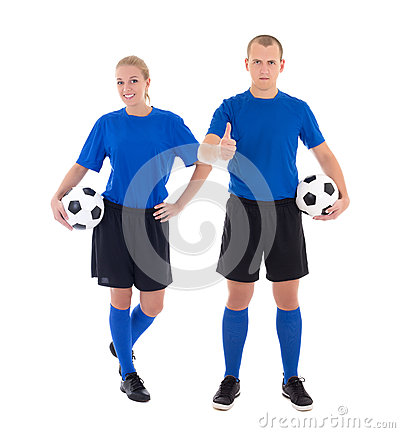 Male and female soccer players in blue uniform with a balls on w