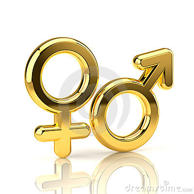 Male and Female Symbols isolated on white