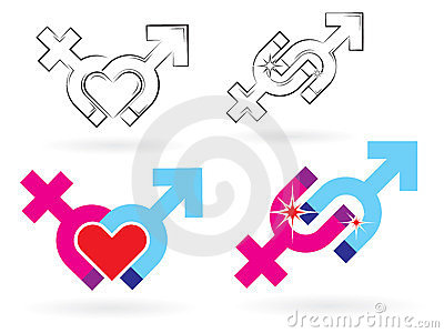 Male and female symbols magnetism