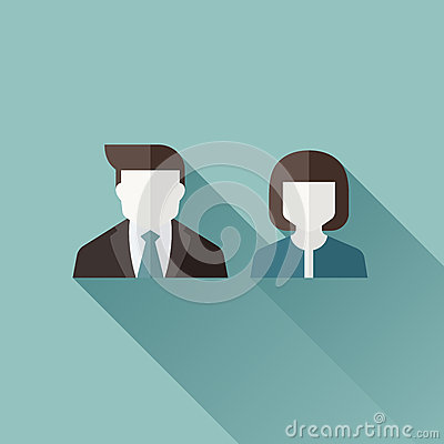 Male and female user icons. Flat vector design with long shadow