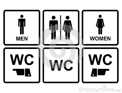 Male and female wc icon denoting toilet and restroom facilities for