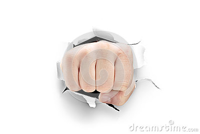 Male fist breaking through a white paper