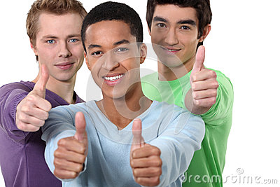 Male friends giving thumbs-up
