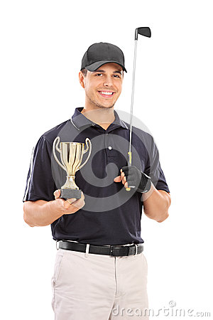 Free Male Golfing Champion Holding A Gold Cup Royalty Free Stock Photo - 49295605