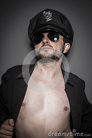 Male, Good looking policeman, sexy police with sunglasses over d
