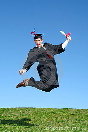 Free Male Graduate Jumping For Joy Royalty Free Stock Photos - 2262158