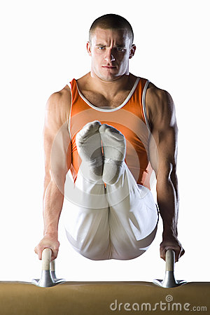 Male Gymnast On Push Up Bars, Cut Out Stock Photo - Image ...